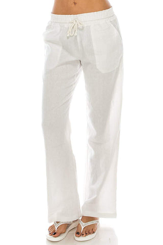 White Color Linen Womens Pant - WO-pants-WHT