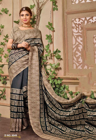 Black Color Bhagalpuri Silk Saree - WOM8049