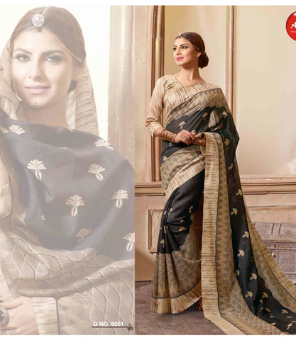 Beige Color Bhagalpuri Silk Saree - WOM8051