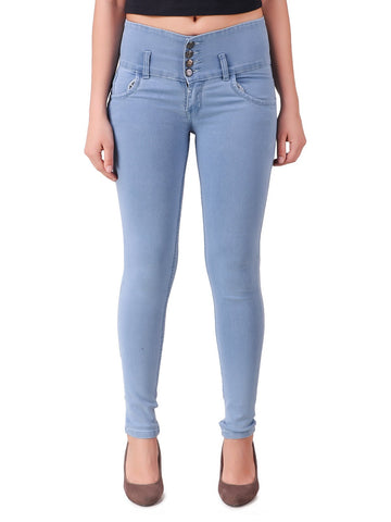 LightBlue Color Women Denim Jeans - WOMEN-4BTN-LB