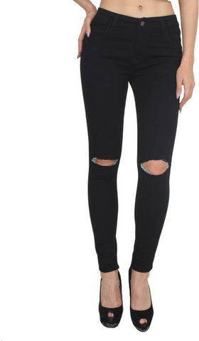 Black Color Women Denim Jeans - WOMEN-NEW-T9BLK-A-1