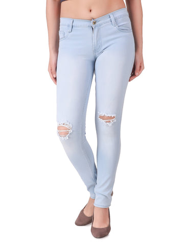 LightBlue Color Women Denim Jeans - WOMEN-T9-LB