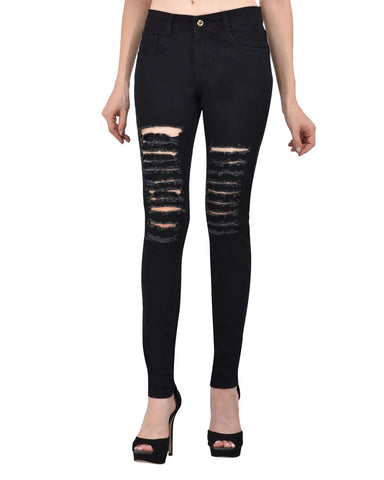 Black Color Denim Women Jeans - WOMEN-TS-BLACK