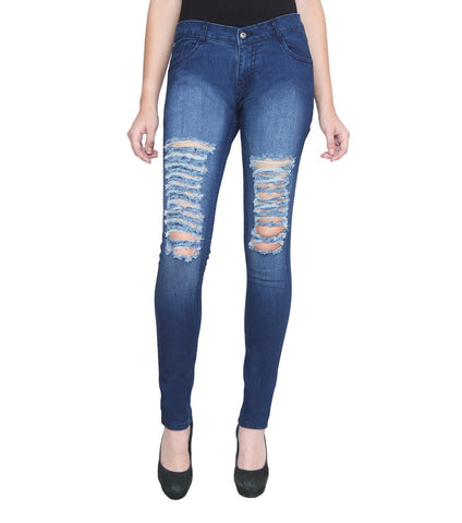 DarkBlue Color Denim Women Jeans - WOMEN-TS-DB
