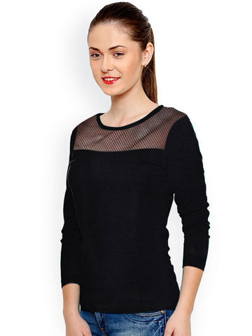 Black Color Knitting Stitched Top - WOMENTOP34