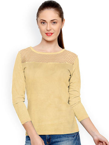 Cream Color Knitting Stitched Top - WOMENTOP35