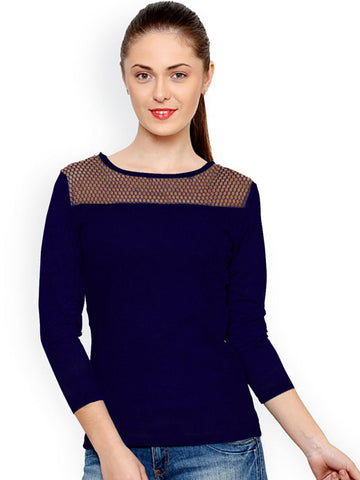 Blue Color Knitting Stitched Top - WOMENTOP73