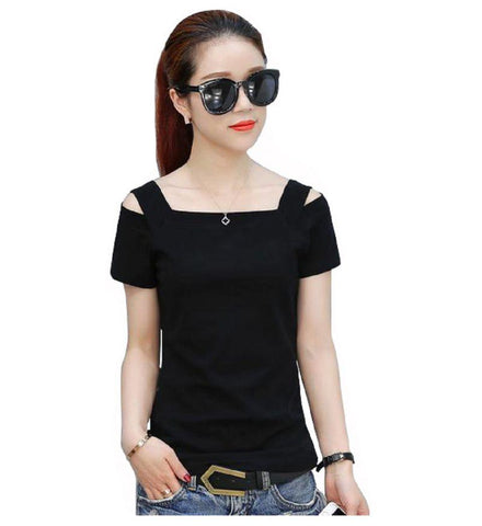 Black Color Knitting Stitched Top - WOMENTOP76