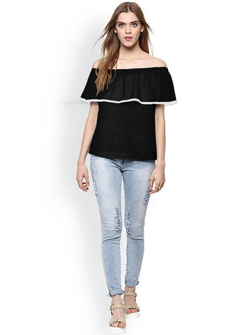 Black Color Knitting Stitched Top - WOMENTOP79