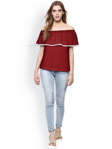 Maroon Color Knitting Stitched Top - WOMENTOP80