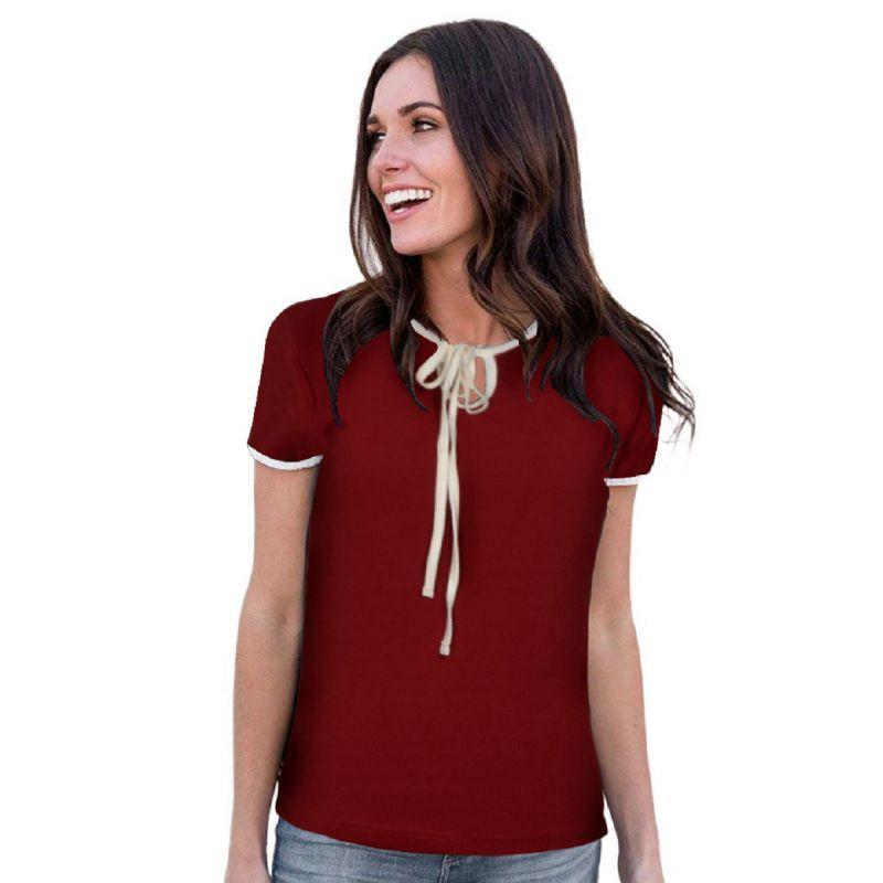 Buy Maroon Color Knitting Stitched Top