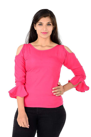 Pink Color Faux Crepe Womens Top - WOMENTOP94