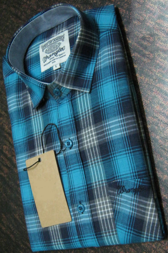 Cyan And Black Color Pure Cotton Men's Shirt - WS-2