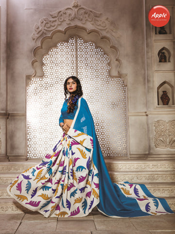 Cream and NavyBlue Color Bhagalpuri Silk Saree - WV8-8WOM9801