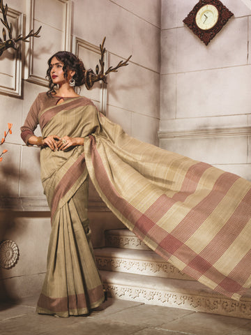 Beige Color Bhagalpuri Silk Saree - WV8-8WOM9805