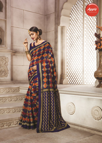 Black and Mustard Color Bhagalpuri Silk Saree - WV8-8WOM9810