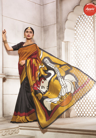 Multi Color Bhagalpuri Silk Saree - WV8-8WOM9811