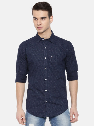 Navy Blue Color Cotton Mens Shirt - WW375C