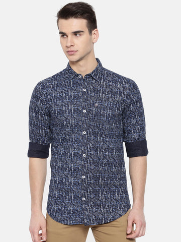 Navy Blue Color Cotton Mens Shirt - WW377B