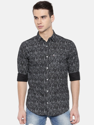 Black Color Cotton Mens Shirt - WW377C