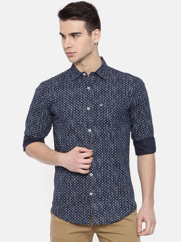 Navy Blue Color Cotton Mens Shirt - WW378C