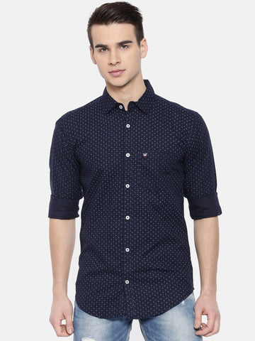 Navy Blue Color Cotton Mens Shirt - WW379C