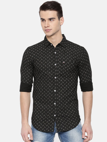 Black Color Cotton Mens Shirt - WW381C
