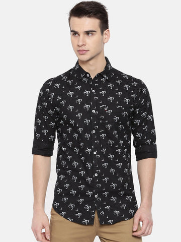 Black Color Cotton Mens Shirt - WW383C