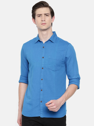 Blue Color Cotton Linen Men's Solid Shirt - WW447D