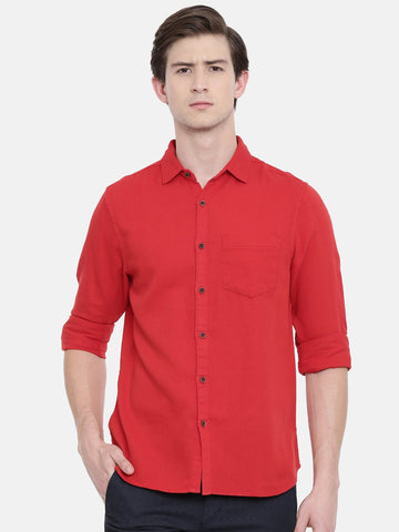 Red Color Cotton Linen Men's Solid Shirt - WW449A