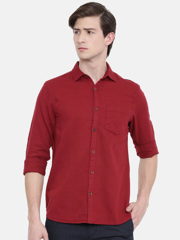 Maroon Color Cotton Linen Men's Solid Shirt - WW449B