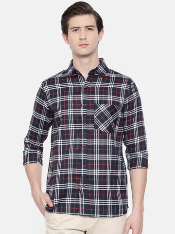 Navy Blue Color Cotton Linen Men's Checkered Shirt - WW450A