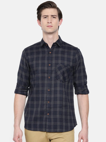 Navy Blue Color Cotton Linen Men's Checkered Shirt - WW451A