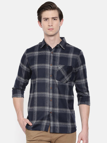 Navy Blue Color Cotton Linen Men's Checkered Shirt - WW452A