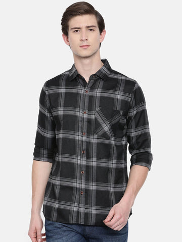 Black Color Cotton Linen Men's Checkered Shirt - WW452C