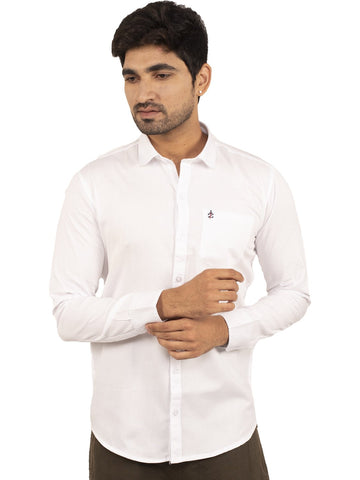 White Color Plain Casual Shirt - WH-1ABF