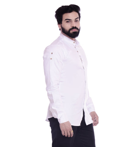 White Color Cotton Blend Men's Solid Shirt - XTL-DS02