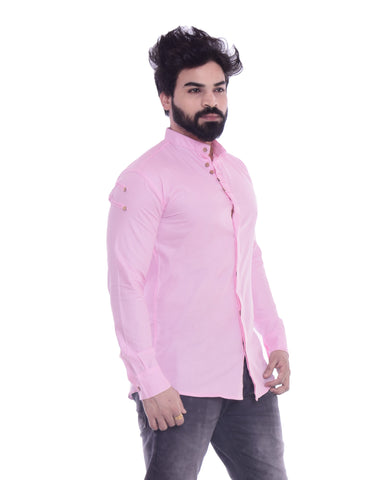Light Pink Color Cotton Blend Men's Solid Shirt - XTL-DS03