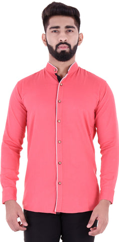 Pink Color Cotton Blend Men's Solid Shirt - XTL-DS15