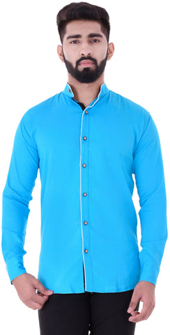 Blue Color Cotton Blend Men's Solid Shirt - XTL-DS17