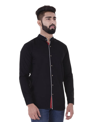 Black Color Cotton Blend Men's Solid Shirt - XTL-DS18