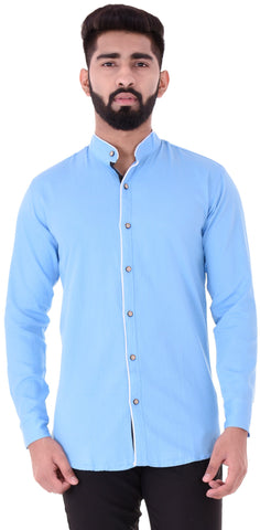 Sky Blue Color Cotton Blend Men's Solid Shirt - XTL-DS19