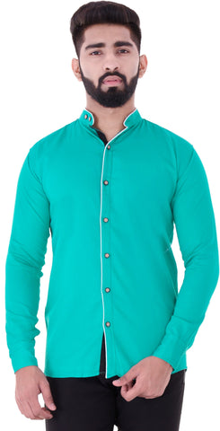 Green Color Cotton Blend Men's Solid Shirt - XTL-DS20