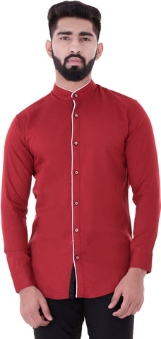 Maroon Color Cotton Blend Men's Solid Shirt - XTL-DS21