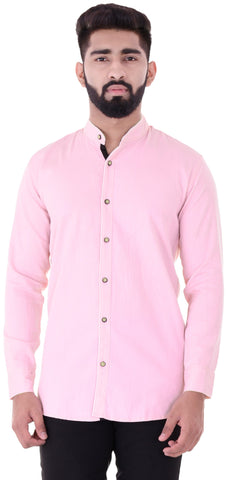 Light Pink Color Cotton Blend Men's Solid Shirt - XTL-DS22