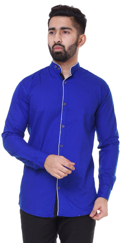 Blue Color Cotton Blend Men's Solid Shirt - XTL-DS23