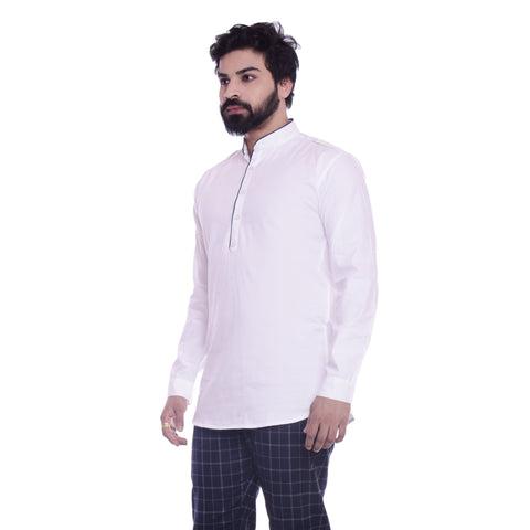 White Color Cotton Blend Men's Solid Shirt - XTL-KS02