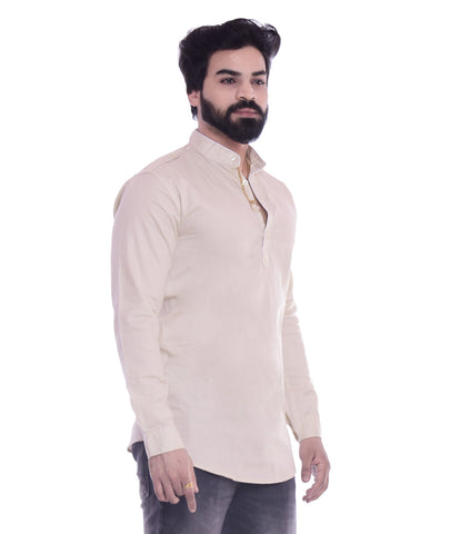 Beige Color Cotton Blend Men's Solid Shirt - XTL-KS03