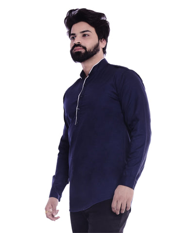Navy Color Cotton Blend Men's Solid Shirt - XTL-KS05