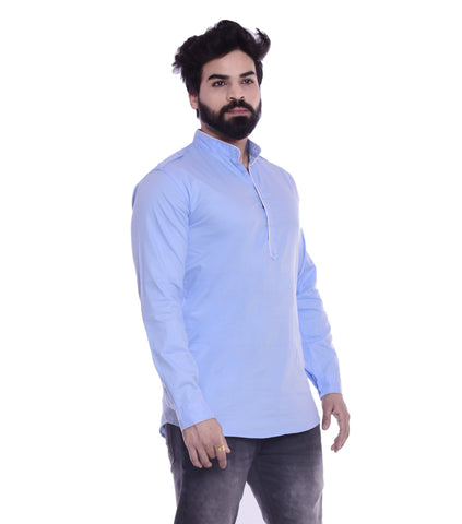 Sky Blue Color Cotton Blend Men's Solid Shirt - XTL-KS06